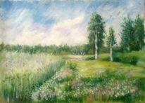 Malerei landschaften, Wiese, Blumenwiese, Blau