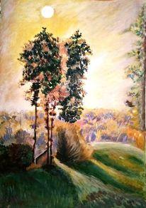 Acrylmalerei, Baum, Himmel, Sonne
