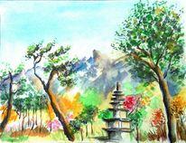 Grün, Aquarellmalerei, Sommer, Orange