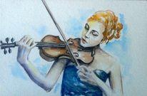 Geigenspielerin, Aquarellmalerei, Violine, Musik