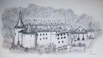 Landschaft, Zeichnung, Zeichnen, Schloss
