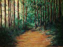 Weg, Wald, Licht, Malerei