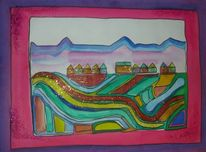 Stadt, Aquarellmalerei, Landschaft, Aquarell