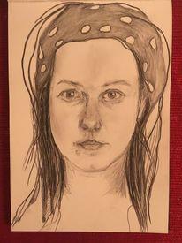 Portrait, Frau, Zeichnungen,