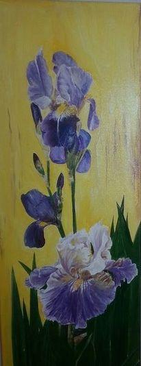 Malerei, Iris, Blumen,