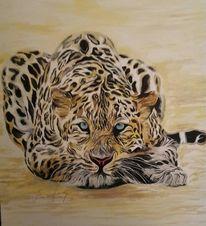 Leopard, Portrait, Modern, Malerei