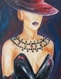 Schmuck, Ölmalerei, Frau, Gemälde