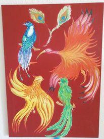 Rot, Farben, Vogel, Malerei