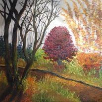 Orange, Malen, Wald, Modern
