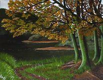Himmel, Acrylmalerei, Grün, Wald