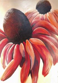 Acrylmalerei, Orange, Wandbild, Blüte