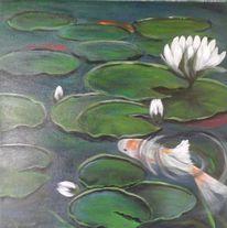 Farben, Fisch, Lotos, Modern art