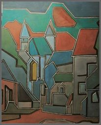 Kirche, Malerei, Landschaft, Stadtansicht