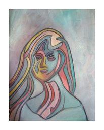 Einsamkeit, Frau, Allein und, Malerei