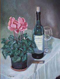 Flasche, Wein, Alpenveilchen, Stillleben