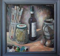 Ölmalerei, Bohnenglas, Stillleben, Malerei