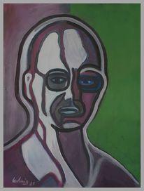 Abstrakt, Mann, Grün, Malerei