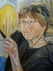 Frau, Skepsis, Malerei, Spiegel