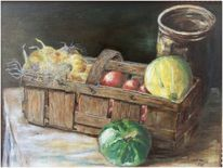 Obst, Obstkorb, Ölmalerei, Korb