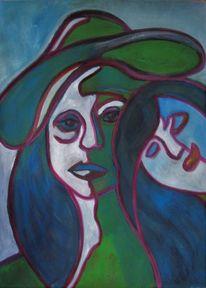 Zweisamkeit, Frau, Blick, Hut
