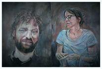 Mann, Frau, Malerei,