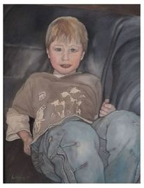 Junge, Kind, Malerei, Lässig