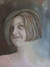 Malerei, Jung, Frau, Blck