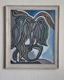 Pflanzen, Fenster, Abstrakt, Malerei