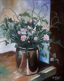 Rose, Blumentopf, Ölmalerei, Malerei