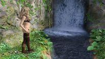 Frau, See, Natur, Wasserfall