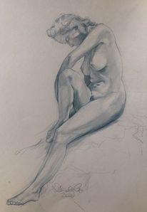 Zeichnen, Frau, Studie, Baden