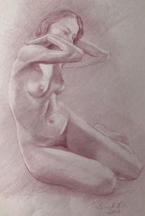 Akt, Weiblich, Studie, Zeichnen