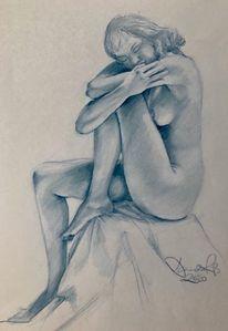 Zeichnen, Traum, Akt, Frau