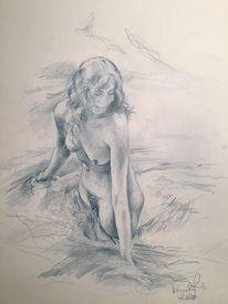 Akt, Baden, Zeichnen, Pose