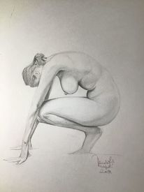 Frau, Akt, Bleistiftzeichnung, Pose