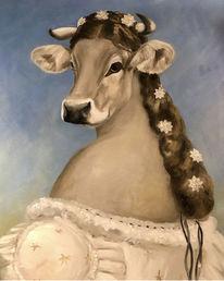 Kuh, Ölmalerei, Fantasie, Portrait