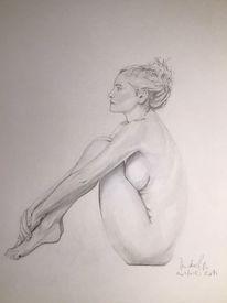 Zeichnen, Pose, Akt, Frau