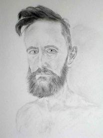 Selbstportrait, Mann, Portrait, Bleistiftzeichnung