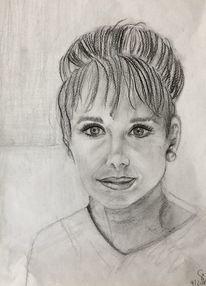 Portrait, Junge frau, Bleistiftzeichnung, Zeichnungen