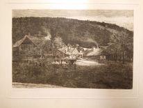 Sonnendurchbruch, Bauerngut, Wald, Zeichnungen