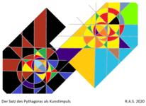 Pythagoras, Farbversuche, Geometrie, Digitale kunst