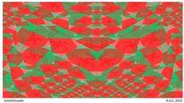 Symmetrie, Konkrete kunst, Rote herzen, Digitale kunst