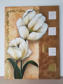 Acrylmalerei, Strukturpaste, Airbrush, Blumen