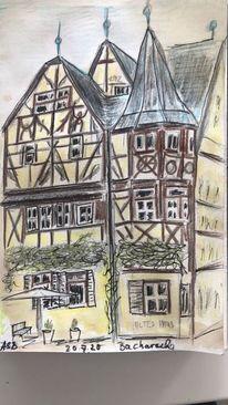 Bleistiftzeichnung, Buntstifte, Bacharach, Skizze