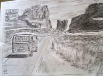 Freiheitstraum, Autobahn, Bleistiftzeichnung, Zeichnungen