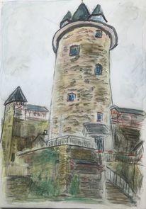Burg stahleck, Din a4, Steinpapier, Mischtechnik