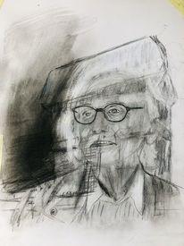 Christo, Bleistiftzeichnung, Kohle 50x 40, Zeichnungen