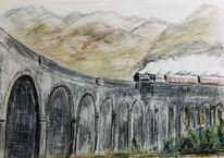 Schottland, Polychromos, Dampflok, Zeichnungen