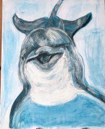 Delfin2, Acrylmalerei, Leinwand 50x40, Malerei