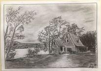 Bleistiftzeichnung, Haus, Fluss, Zeichnungen